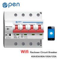 OPEN 4P 40A-125A Remote Control Wifi Circuit Breaker /Smart Switch /Automatic Recloser support alexa and google home