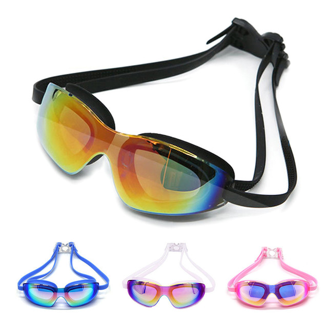 53e51ee64f9 New Big Glasses Plating Adult Anti-fog Waterproof UV Protection Swimming  Goggles Adult Eyewear Packing with Case And Earplug