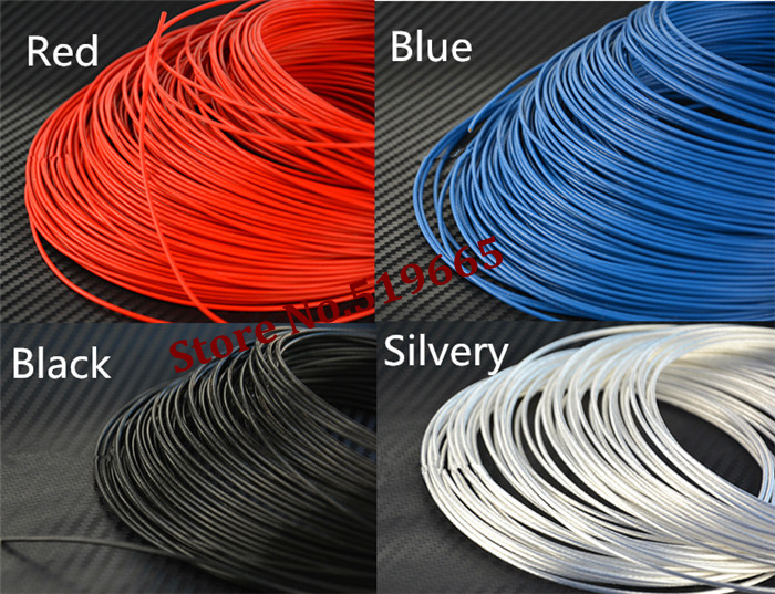 <font><b>100M</b></font>/lot Red/Black/Blue/silvery color <font><b>24AWG</b></font> Teflon silver wire for fan,audio and usb cable <font><b>24awg</b></font> chassis modification line image