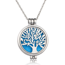 Can Open Stainless Steel Hollow Tree of Life Essential Oil Diffuser Perfume Aromatherapy Locket Necklace For Women Gifts