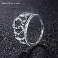 ANFASNI New 925 Sterling Silver Hearts Tiara Extravagant Ring With Clear CZ Classic And Elegant Stackable