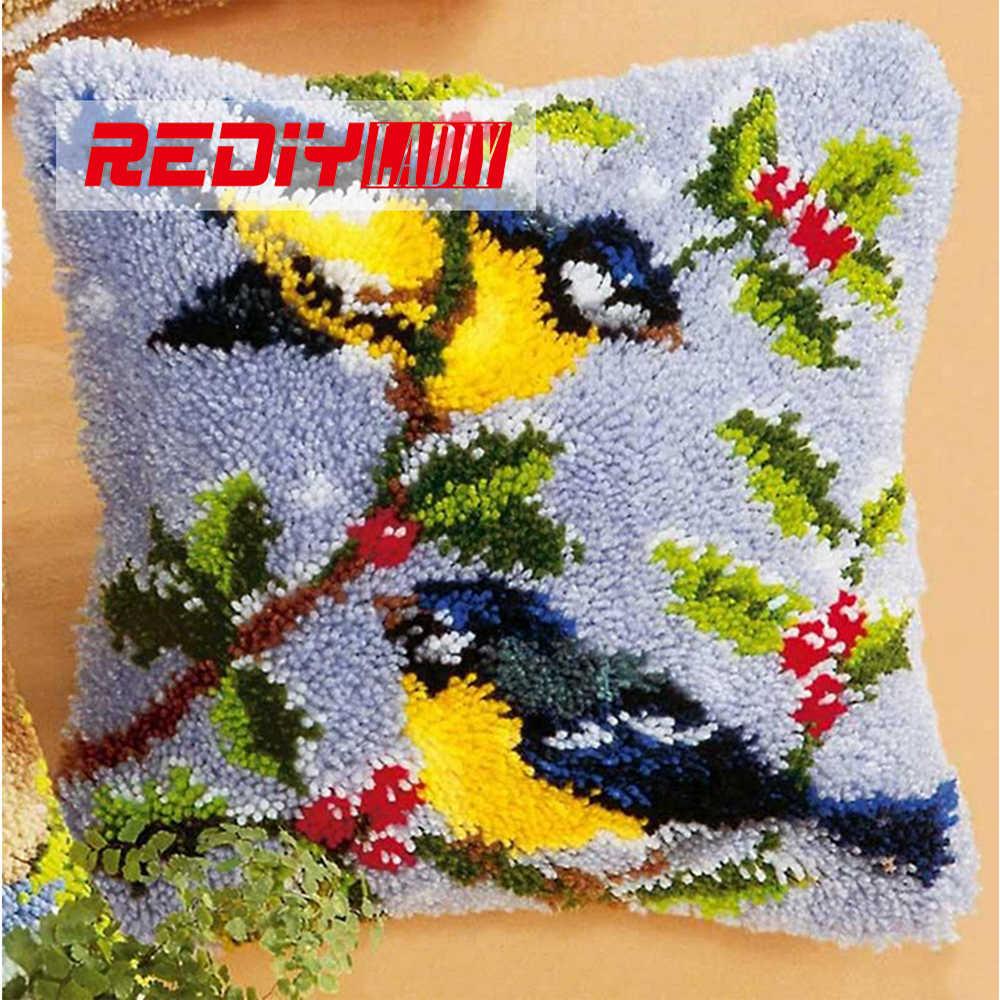 REDIY LADIY защелки крюк подушки наборы любовник птицы подушки Свадебные украшения наборы для вышивки незавершенная наволочка с крючками с защелкой