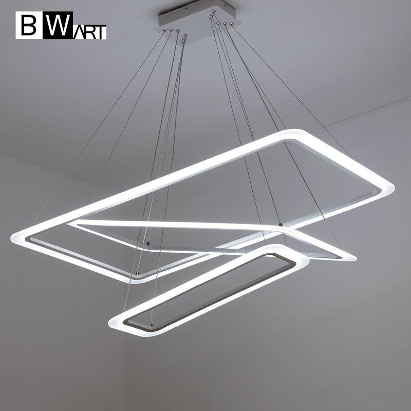 BWART Moderne LED Kronleuchter Luxus Wohnzimmer Led Lampe Grosses Rechteck Hngenden Leuchten Dimmbare Glanz