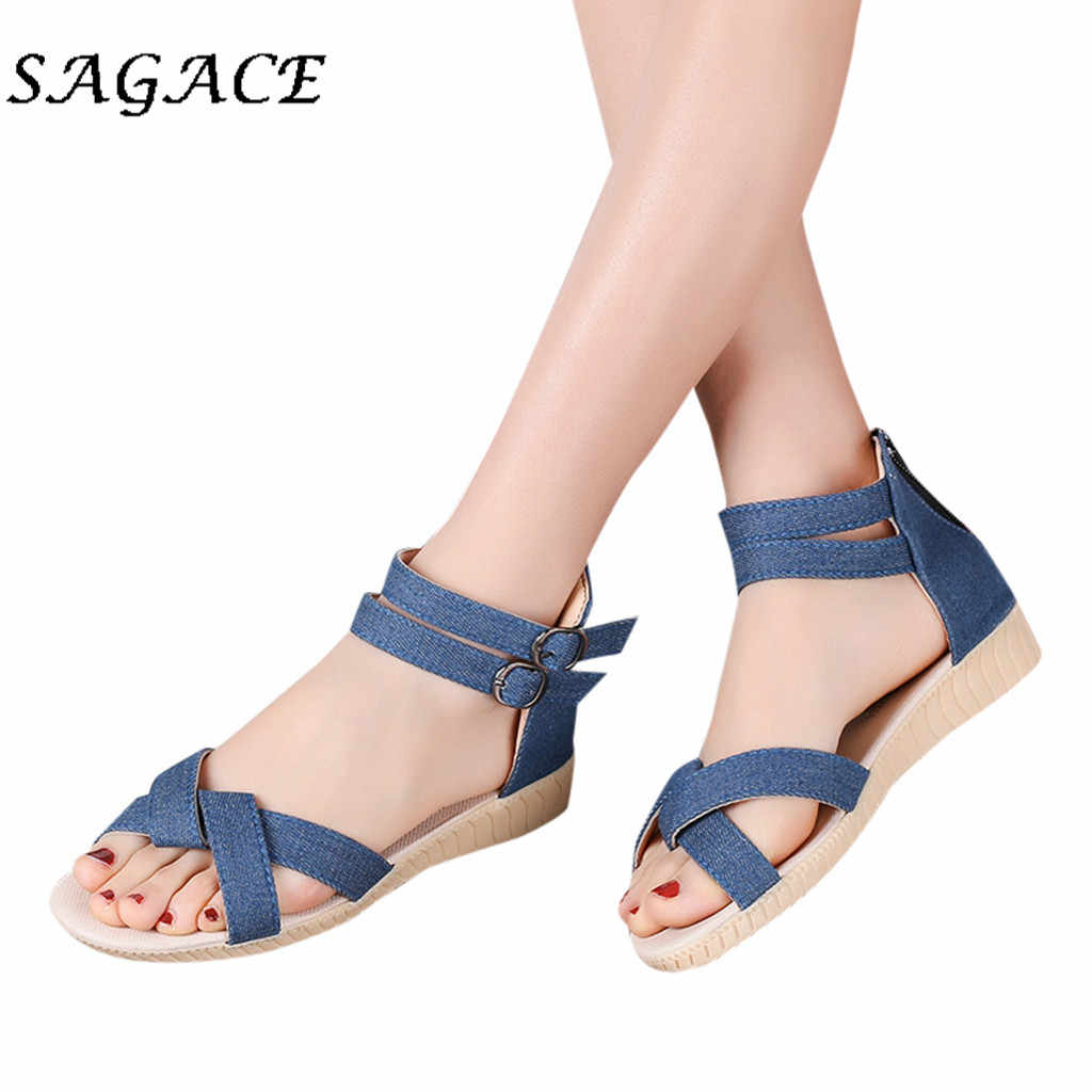 SAGACE Shoes Women buckle sandals wedge rubber beach sandals 2019 summer ladies Anti-Slip sandals with heels women casual shoes