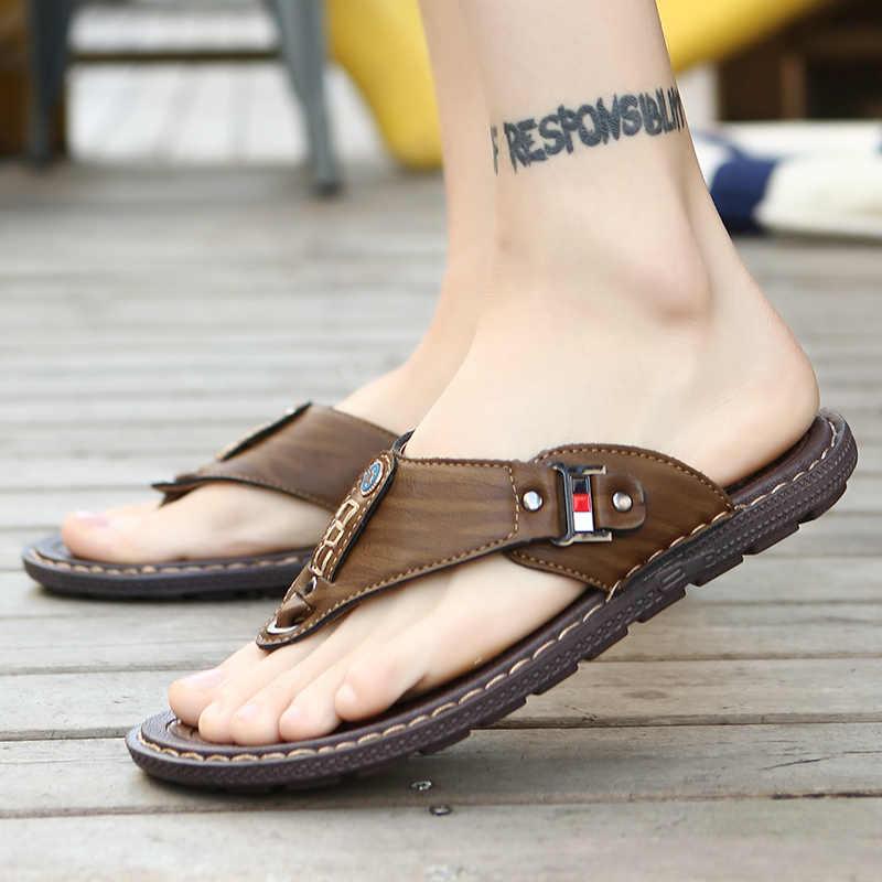 2019 ฤดูร้อนชายชายหาดรองเท้าแตะหนัง Pu รองเท้าแตะชายรองเท้าแตะกลางแจ้งยาง Thong Beach รองเท้าผู้ชายหนังใหม่