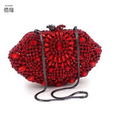 Xiyuan Brand Elegant Beryl Crystal Wedding Prom Handbags Las Gold Diamond Evening Bag Metal Clutch Purse