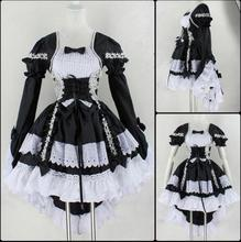 New 2017 Halloween Costume For Women Girls Sexy Sweet Gothic Lolita Dress Sissy Maid Uniform Anime Maid Cosplay Costume