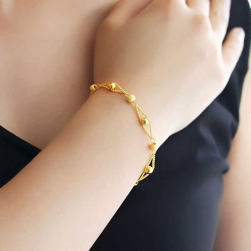 สีทองและกำไลสำหรับผู้หญิง, 24 พันชุบลูกปัดสร้อยข้อมือ 16 + 3 เซนติเมตร, สร้อยข้อมือแฟชั่น, ผู้หญิง/หญิงสร้อยข้อมือ