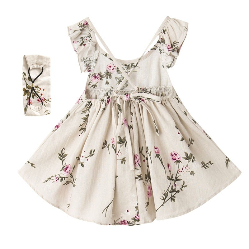 Girls summer dress linen printed ruffles Dress with headband Baby Girl Clothes Flower Girl Dresses Toddler Summer Dress