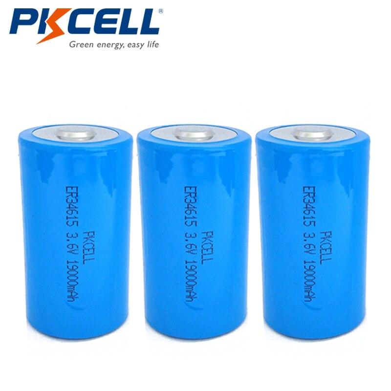 3Pcs*PKCELL ER34615M Lithium Battery 3.6V 19000mAH ER34615 D Size High Energy Batteries for Medical Instruments