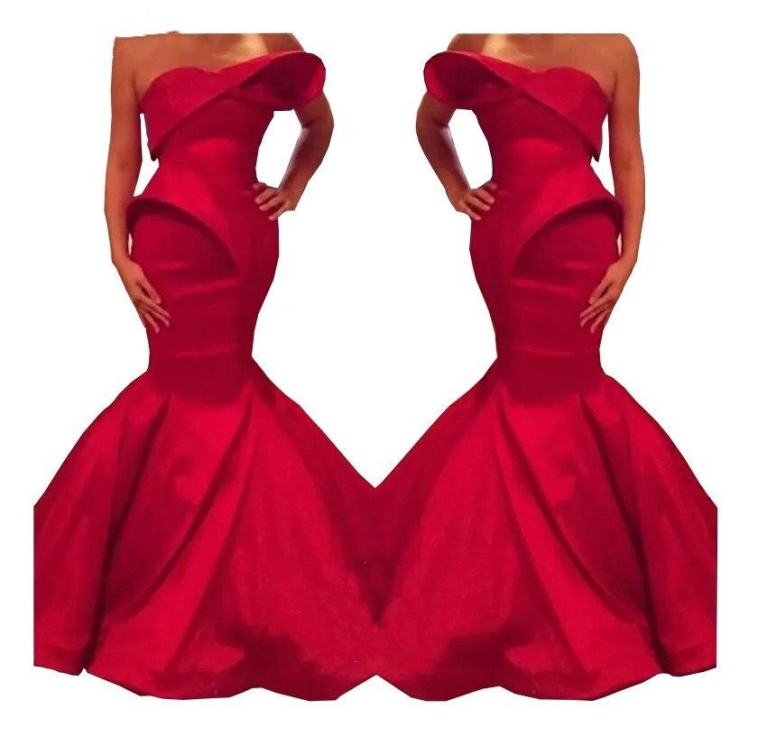 2019 nouveau Design saoudien rouge chérie sirène Satin longueur de plancher robes de soirée sur mesure robe de bal