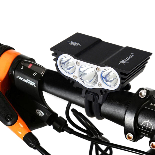 SolarStorm Waterproof Bike Light 3xT6 LED Front Bicycle Headlight Battery Pack