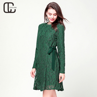 Women's Elegant O Neck Ribbon Bow Velvet Thick Green Lace Dresses Female Long Sleeve Evening Party Plus Size Winter Lady Dress