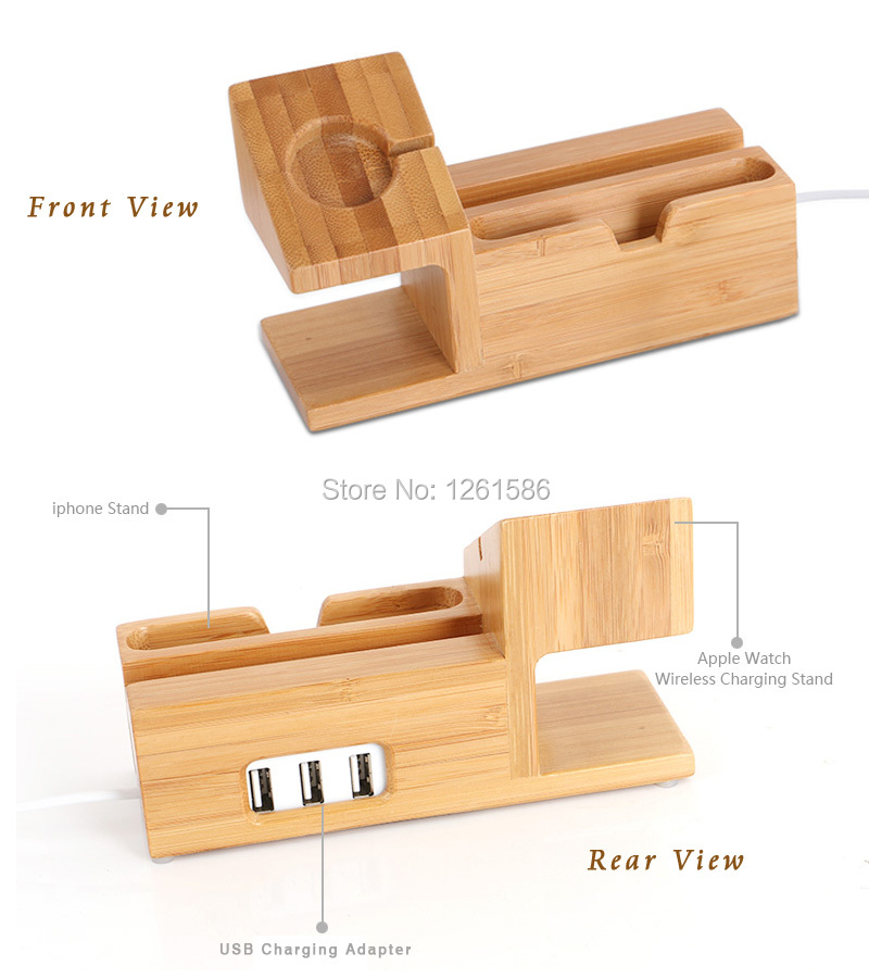 Charger Holder Stand USB Adapter For-Apple Watch 38mm wooden bamboo for iphone 6 6s 6plus 5c (12)