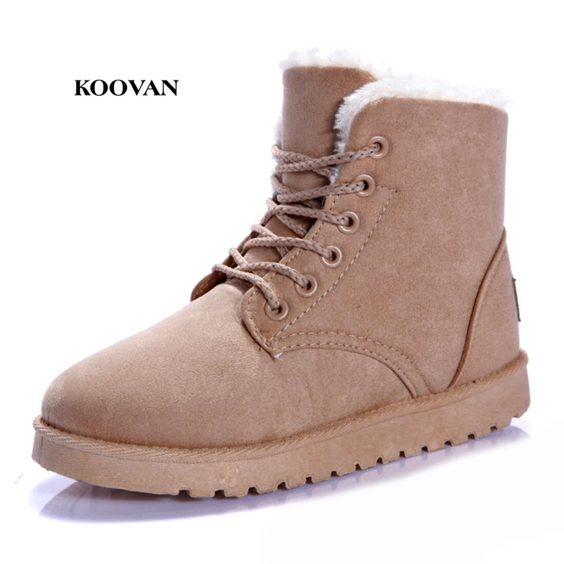 Koovan Women Boots 2017 Winter Fashion Students Snow Boots Girls Short Boots Warm Ankle Shoes Martin Shoes Warm Cotton 2017 thickened graffiti zippers women short snow boots female cotton winter shoes fashion design warm flock page 2