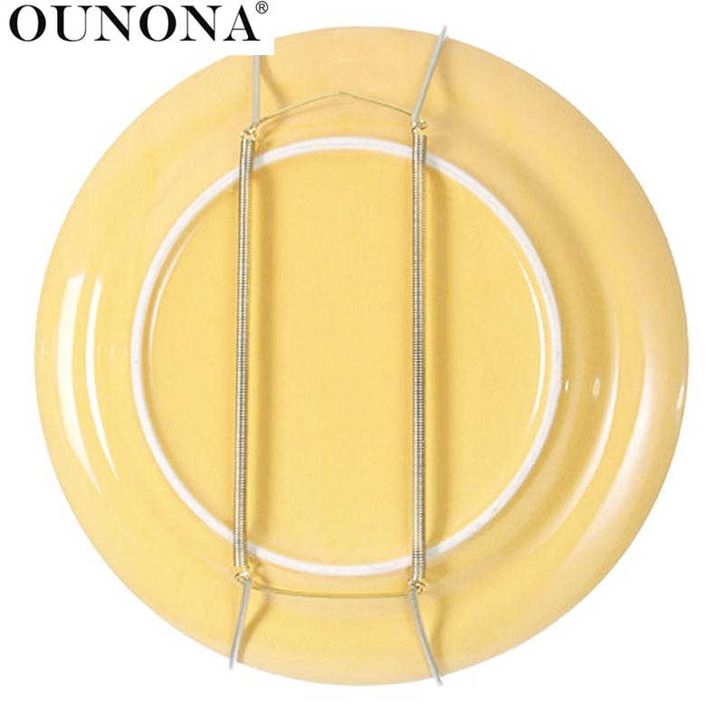 OUNONA 10pcs 8 Inch Spring Style Invisible Plate Tray Dish Wire Hanger Holders Wall Decoration