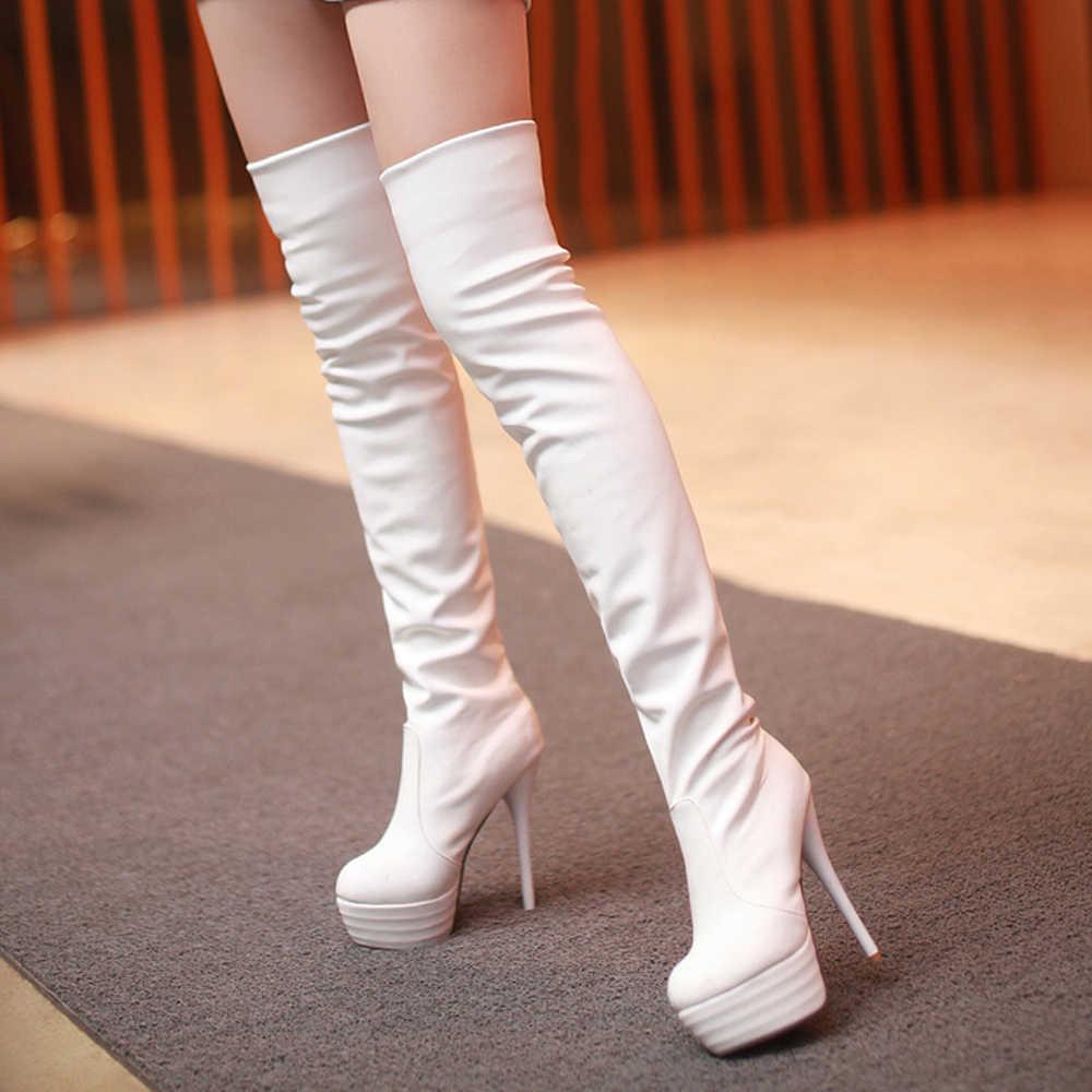 Meotina Uyluk Yüksek çizmeler kadın ayakkabıları Kış Seksi Aşırı Yüksek Topuk Diz Çizmeler Platformu Ince Topuk Uzun Çizmeler Bayan 33 -43