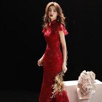 Burgundy Wedding Qipao Long Cheongsam Modern Chinese Traditional Dress Sexy Cheongsam Dress Robe Chinoise Vestido Oriental Prom