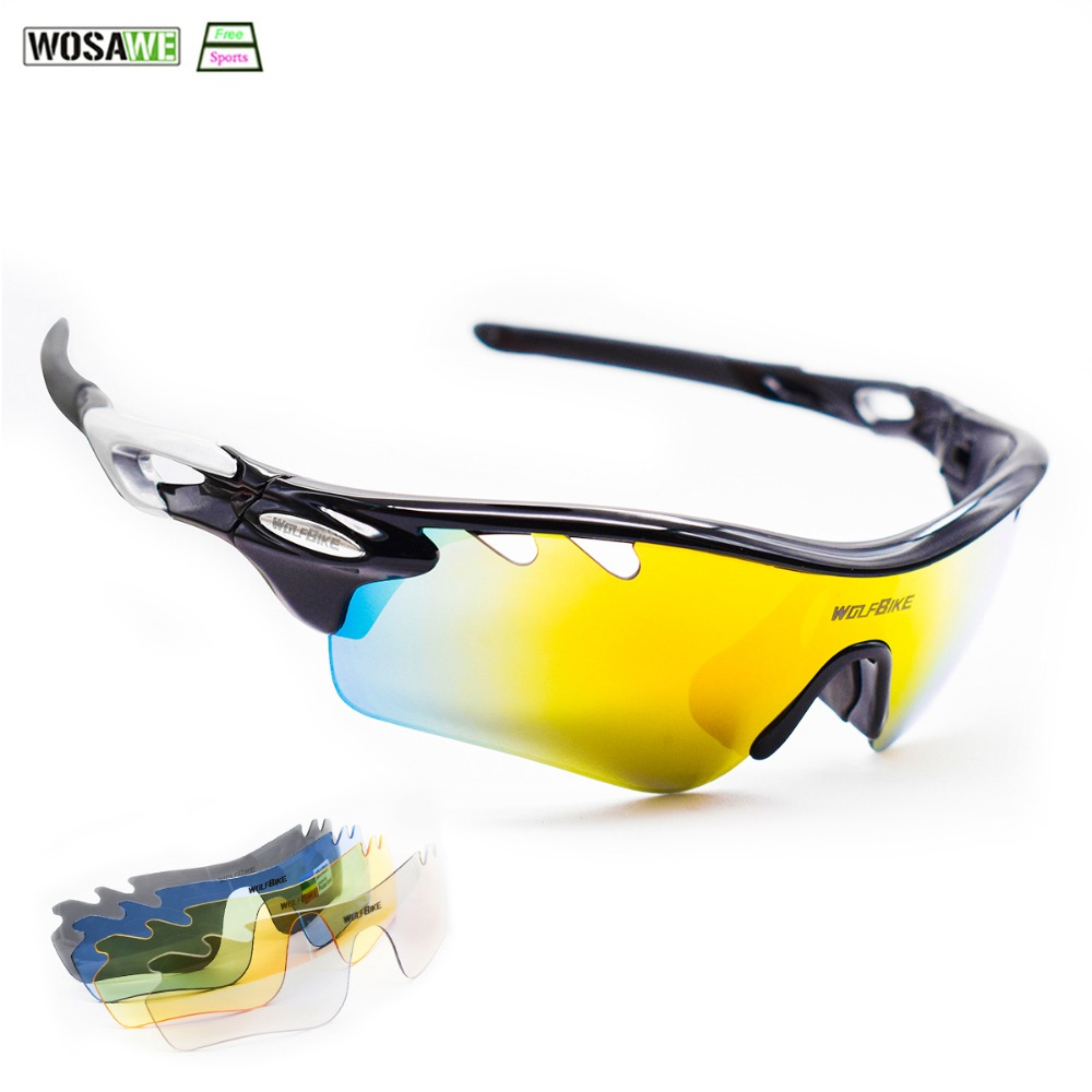 81765abf032 WOLFBIKE Polarized Glasses MTB mountain bike 5 Len Goggles UV400 Sports  Bicycle Sunglasses Running Fishing Driving Glass Myopia