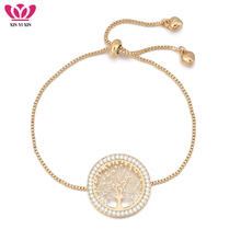 2018 New pulseira mujer moda Clear Crystal Gold Charm Bracelets Bangles For Women Tree of Life Adjustable Bracelet Jewelry Gift(China)