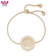 f26237fbe7df 2018 nuevo pulseira mujer moda cristal claro oro encanto pulseras brazaletes  para mujer árbol de la vida pulsera ajustable regal.