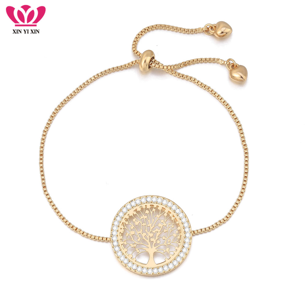 2020 New pulseira mujer moda Clear Crystal Gold Charm Bracelets Bangles For Women Tree of Life Adjustable Bracelet Jewelry Gift|pulseira masculina|tree of life braceletbracelet tree - AliExpress