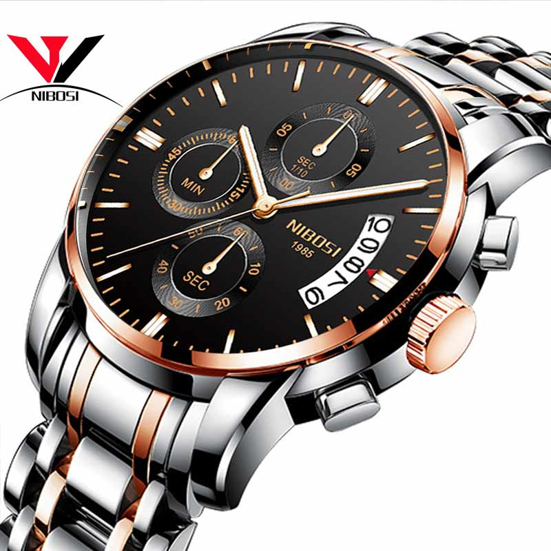 Relojes Para Hombre 2018 NIBOSI Chronograph Mens Sport Watches Men Waterproof Business Casual Wrist Watch Full Steel Man Clock agelocer brown watch a classic timepiece sport dual dial mens casual wristwatches wristwatch free shipping relojes para hombre