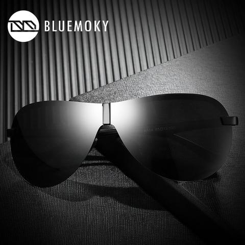 BLUEMOKY Male Rimless Siamese Aviation Sunglasses for Men Polarized UV400 Pilot Sun Glasses for Men Polaroid Sports Eyewear Lahore