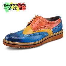 Brogue-Shoes Bussiness Formal-Dress Fretwork-Oxfords Genuine-Leather Mens Retro Lace-Up