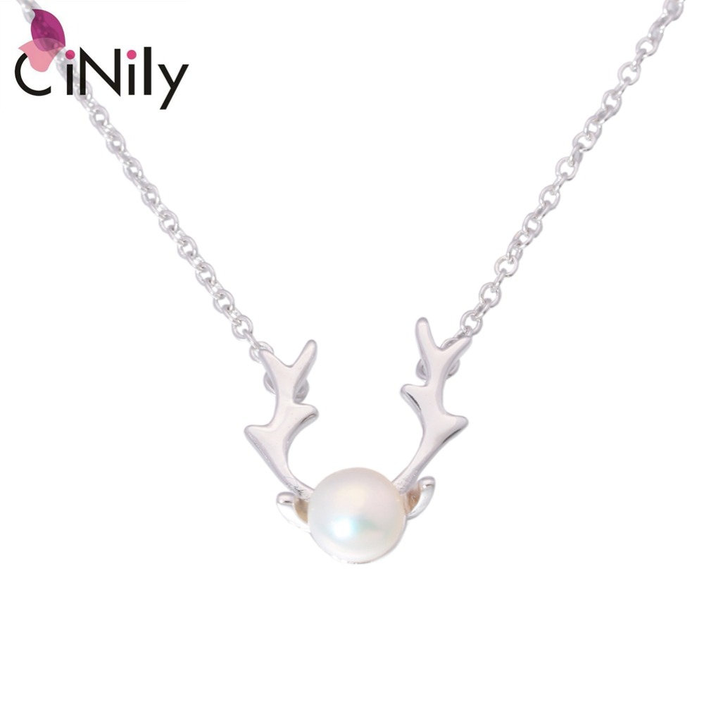 Authentic. Solid 925 Sterling Silver Created White Pearl Wholesale Lovely Deer for Women Jewelry Necklace Pendant SP014