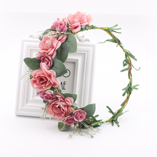 bridal hair accessories Headband Bohemian Style Rose Flower Crown Hairband Ladies flower crown for women