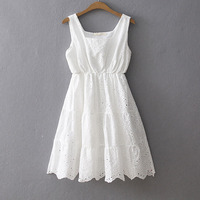 Free Shipping High Quality 2019 New Fashion Lace Cotton Embroidry Dresses Summer Short Sleeveless White Dress Japan Style