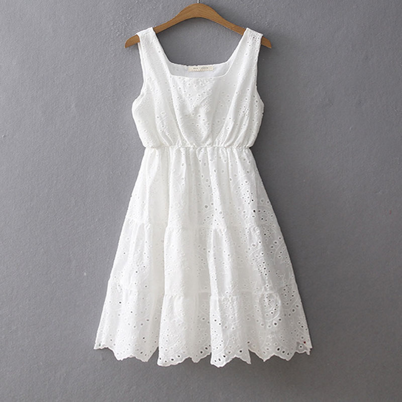 Livraison gratuite de haute qualité 2019 nouvelle mode dentelle coton robes brodées été courte sans manches robe blanche Style japon