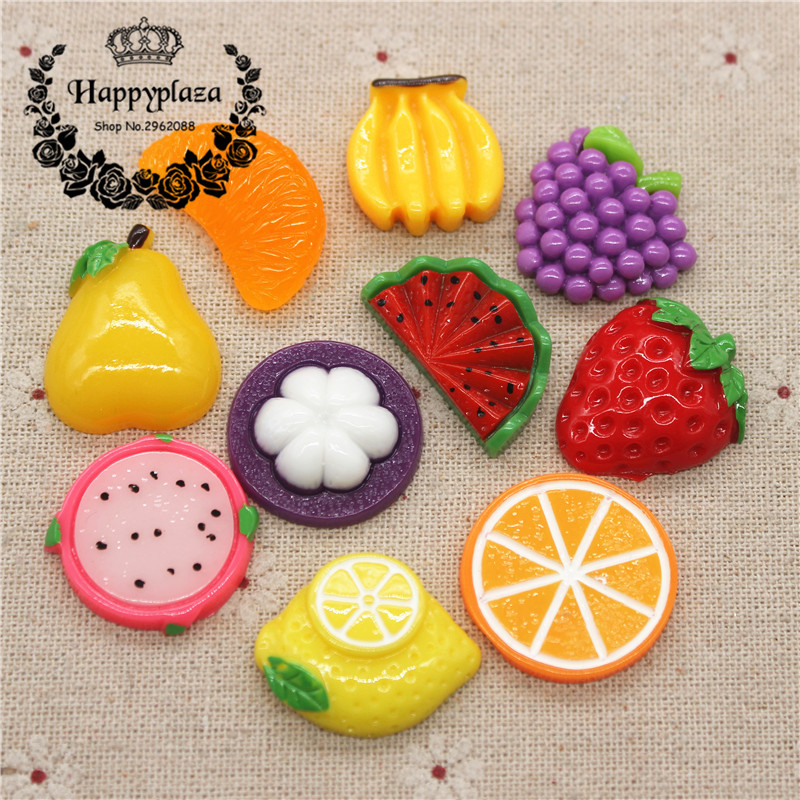 10pcs Cute Resin Various Fruits Simulation Miniature Food Art Flatback Cabochon DIY Craft Decoration
