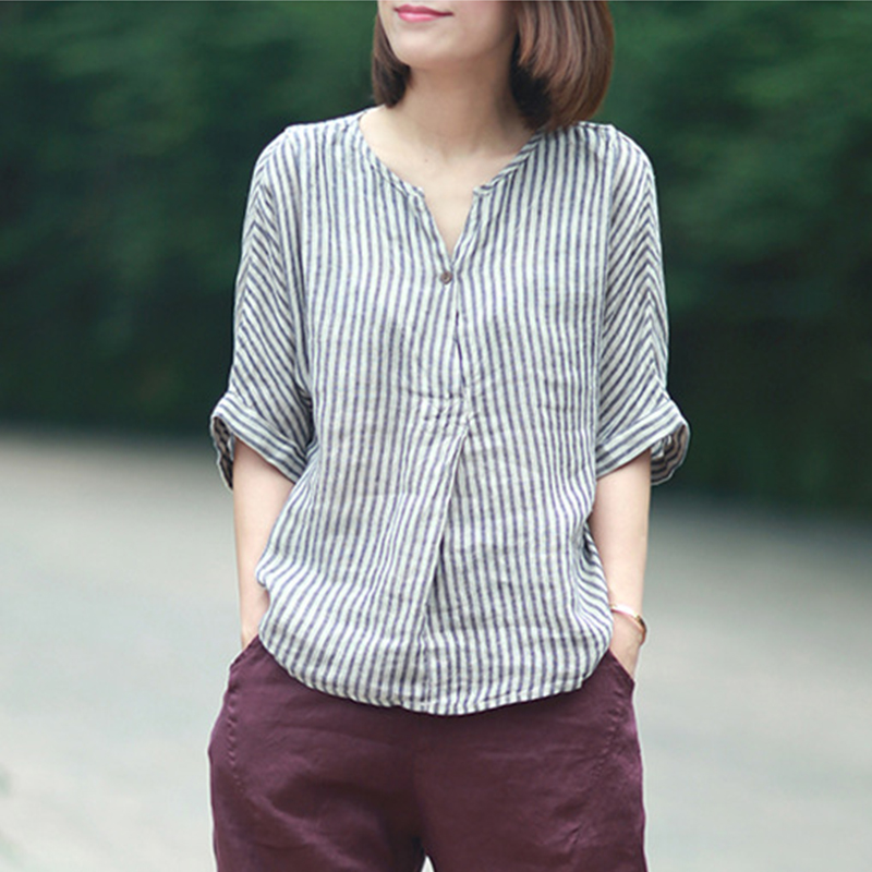 ecc039f749e9bc Johnature Women Striped Shirts 2019 Summer New Batwing Sleeve Casual  Blouses Linen Japanese Blouse Loose Vintage Simple Top
