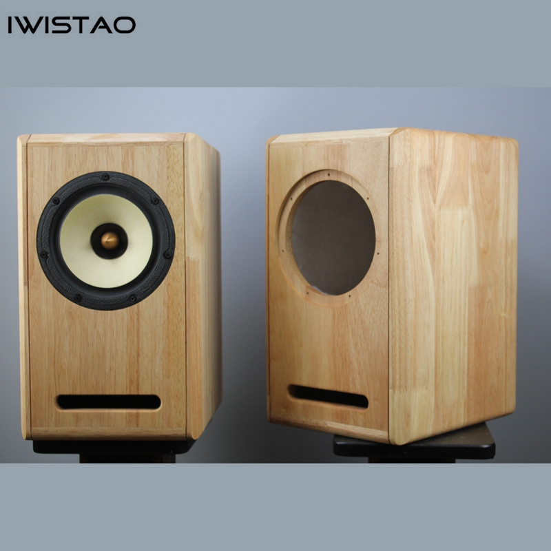 Image 2 - IWISTAO HIFI 6.5 Inches Full Range Speaker Empty Cabinet 1 Pair Finished Oak Wood Labyrinth Structure for Tube AmplifierBookshelf Speakers   -