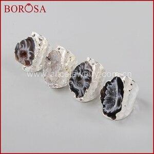 Image 1 - BOROSA 5/10 adet gümüş renk serbest doğal kristal Agates Druzy yüzükler kadınlar için açık Band yüzükler taşlar yüzük takı hediyeler S1388