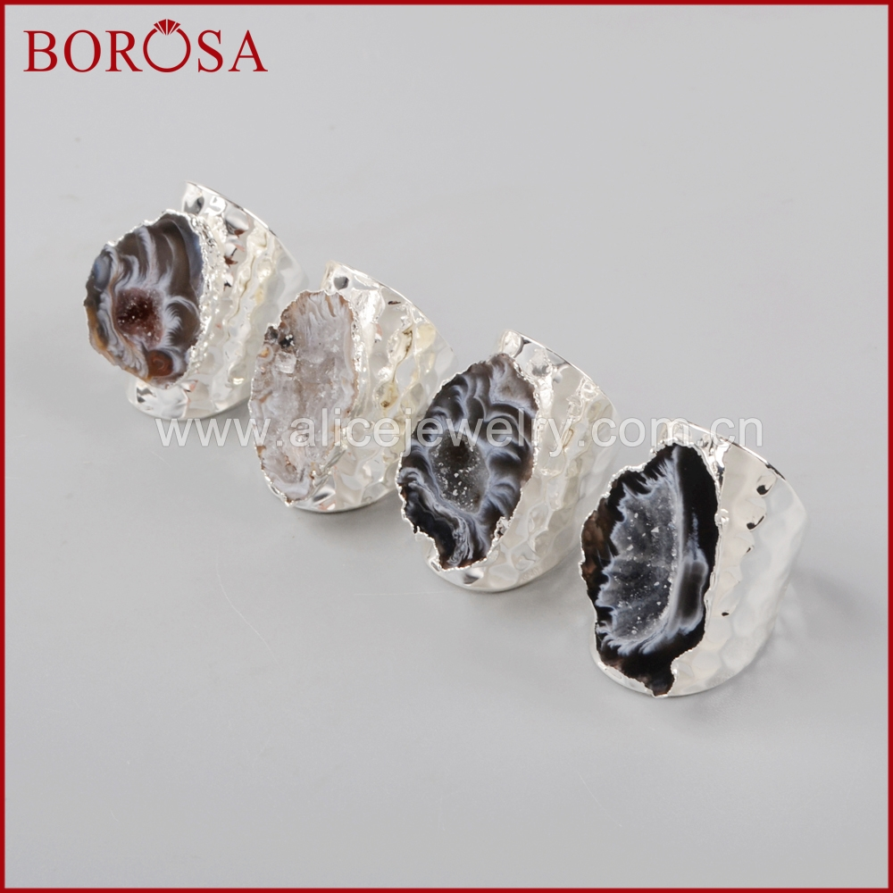 BOROSA 5/10PCS Elegant Silver Color Freeform Natural Crystal  Agates Druzy Slice Open Band Rings Gems Party Rings Jewelry S1388band  ringfashion ringsring fashion