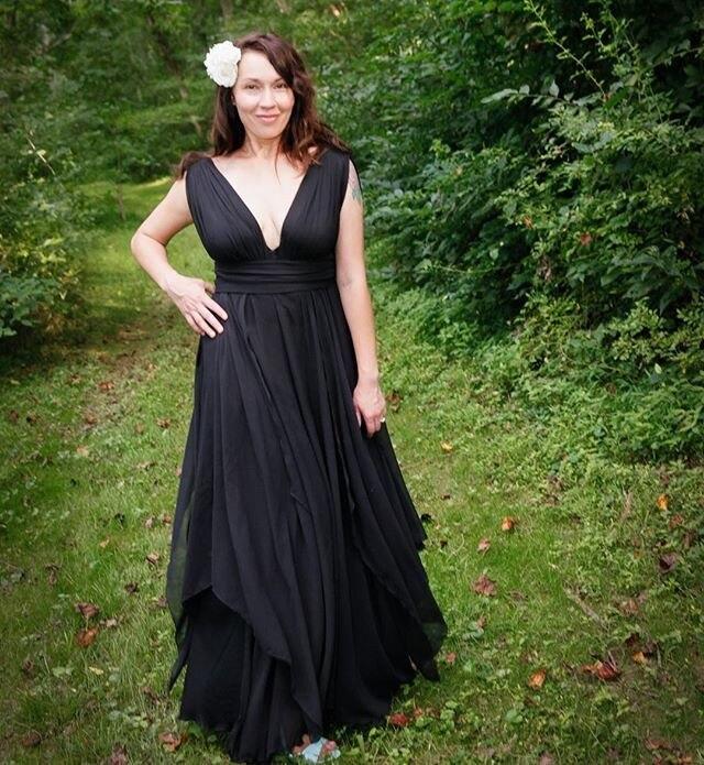 Victorian Gothic Style Black Wedding Dresses Cap Sleeves
