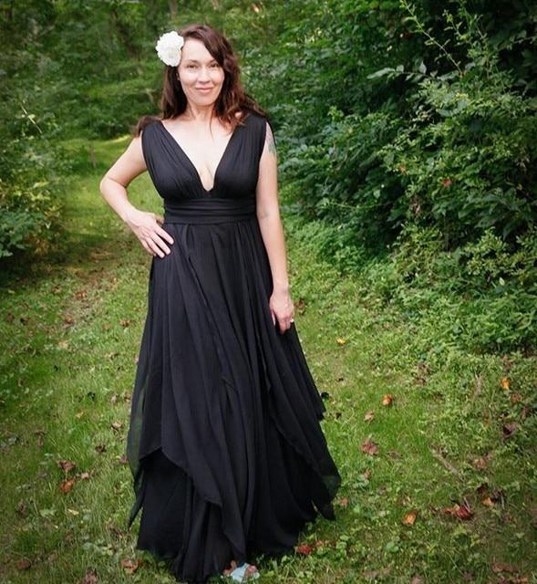 Viktorianischen Gothic Stil Schwarz Brautkleider Cap Sleeves Tiefem ...