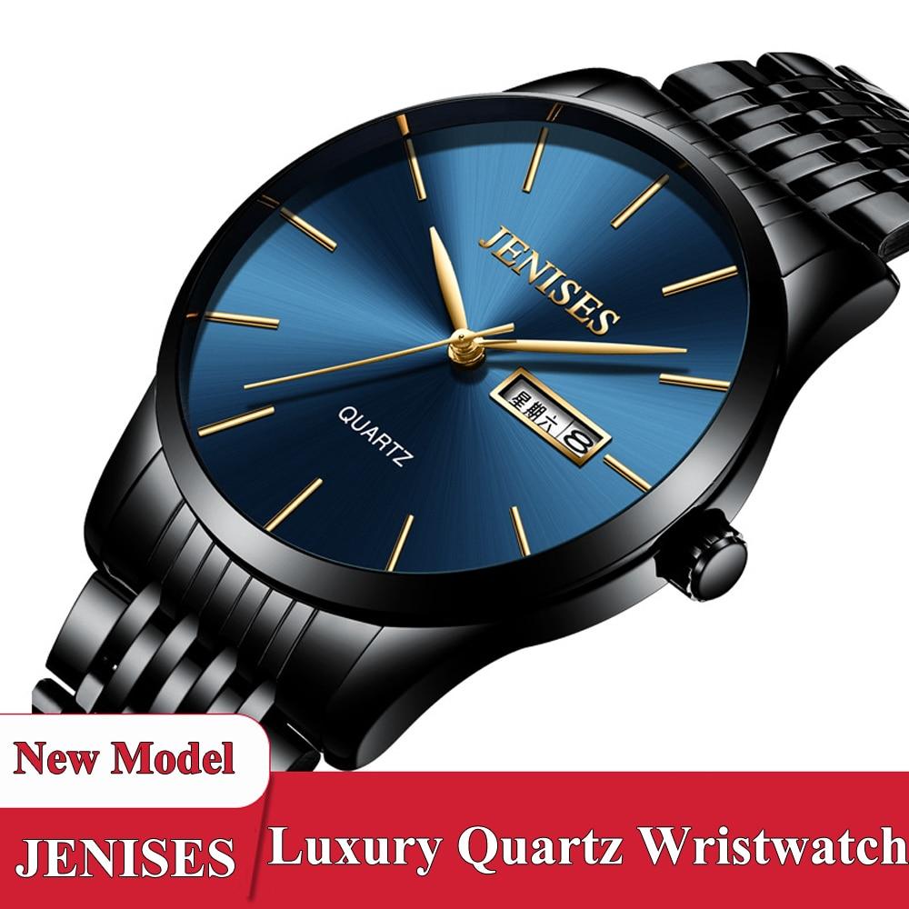 Relogio Masculino Herrenuhr JENISES 2018 Mode Luxus Klassische Business Quarzuhr Stahl Hodinky Männliche Uhr Schwarz Uhr Mann