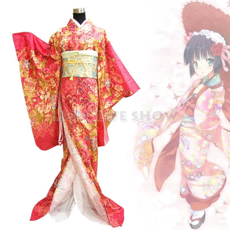 Traje Cosplay japonés tradicional mujer Geisha rojo Floral Furisode Kimono Kimono japonés cárdigan tradicional obi yukata mujeres kimonos japoneses tradicionales ropa de Japón mujeres kimono cardigan V1403