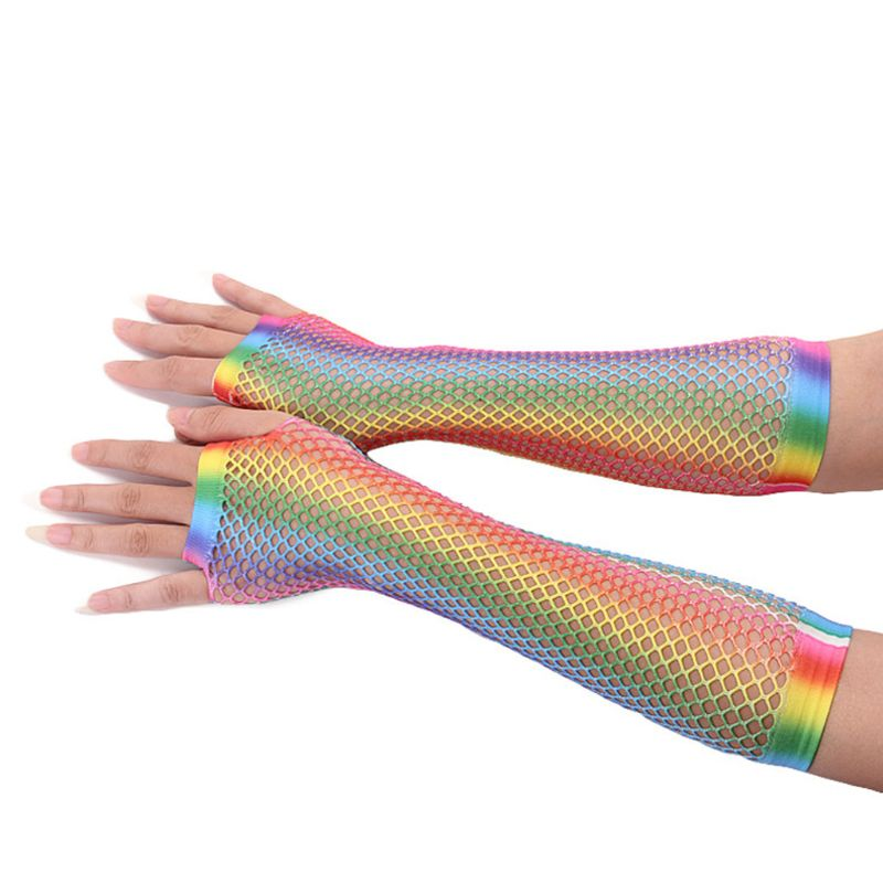 Free Shipping Free Shipping Womens Girls Hollow Out Holes Gloves Rainbow Printed Fingerless Mesh Net Fishnet