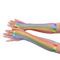 Womens Girls Hollow Out Holes Gloves Rainbow Printed Fingerless Mesh Net Fishnet Bridal Gloves