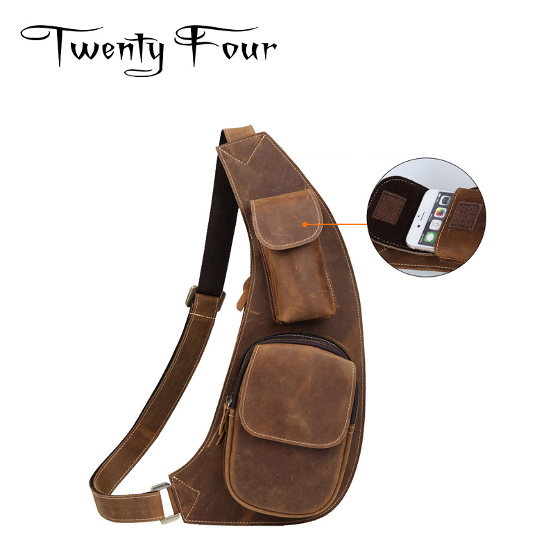 Twenty-four Genuine Leather Man Bags Vintage Style Crazy Horse Leather Male Shoulder Luxury Bags Designer Small Cross Body Bags