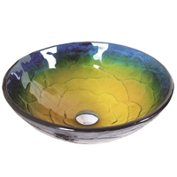 VT5003 Antique Tempered Glass Vessel Round Sink With Water Drain And Mounting Ring