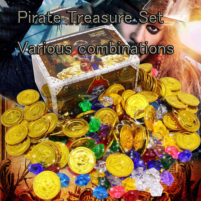 120 Pcs/set Children's Pirate Treasure Toys Treasure Hunting Game Props Pirate Gold Coin And Gems Toys 4 Combinations To Match