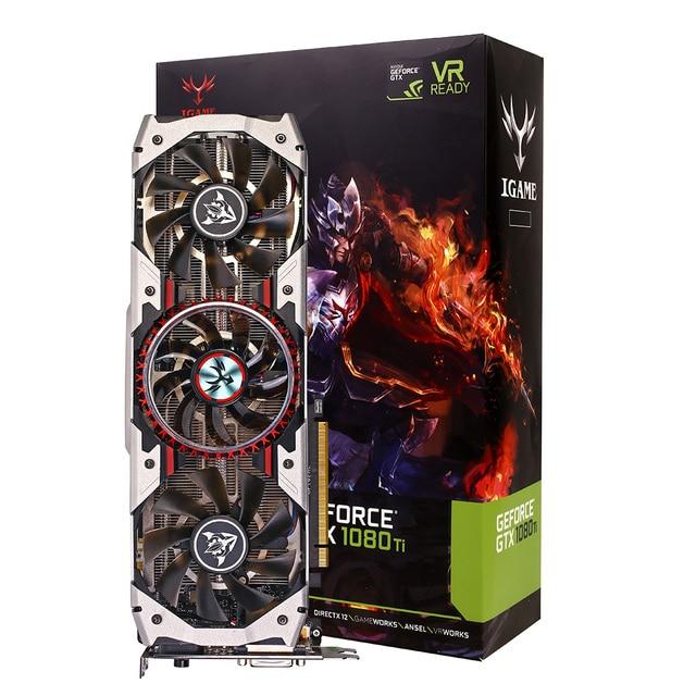 Colorful iGame GTX1080Ti Vulcan AD Gaming Video Graphics Card 1708MHz 11GB GDDR5X 352bit SLI VR Ready Gamer Desktop Super