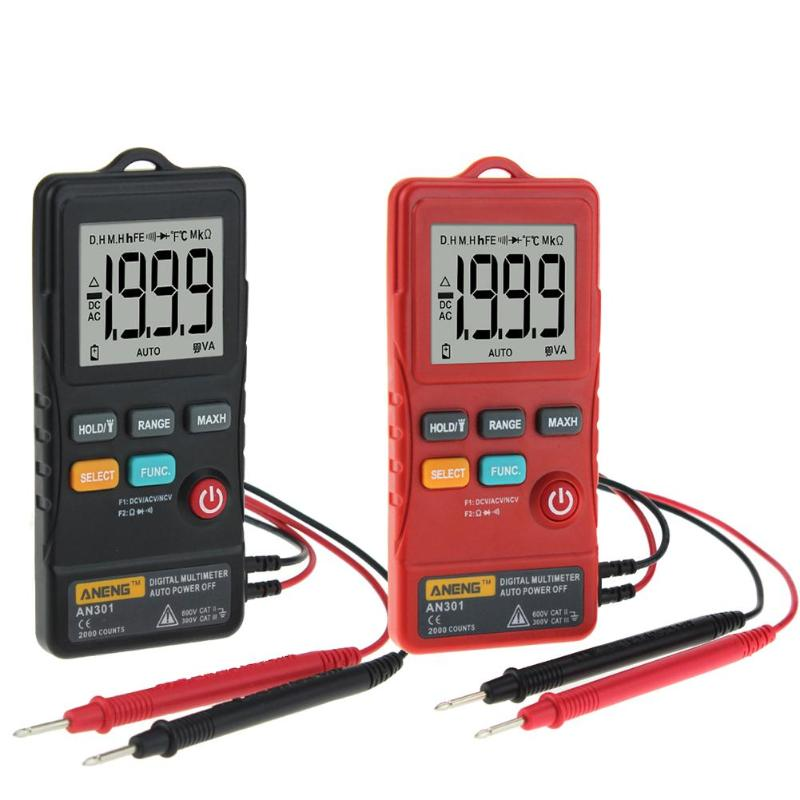 ANENG AN301 Mini Digital Multimeter 1999 Counts Ture RMS Card Type <font><b>AC</b></font> <font><b>DC</b></font> Voltmeter Resistance Meter Tester with LED Light image