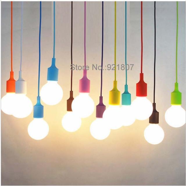 DIY E27 E26 Chandelier light Fixture Hanging Line Colorful Silicone ...